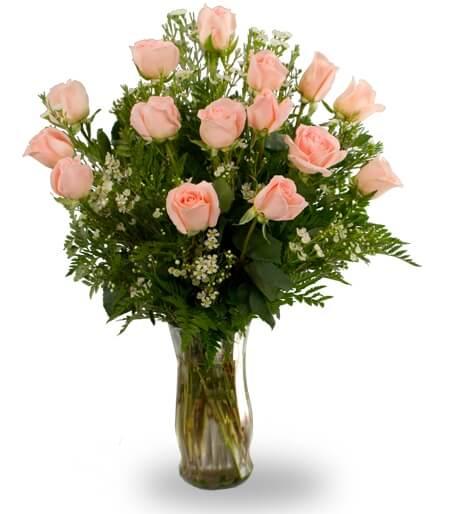 Fifteen peach roses