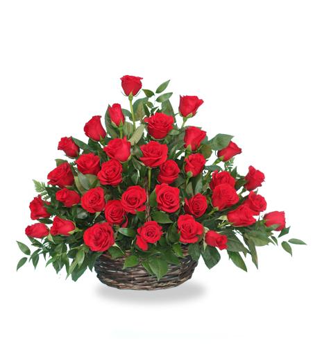 Rose Radiance Flower Basket Arrangement