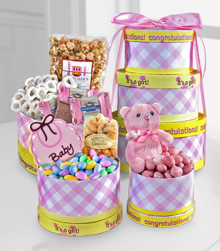Celebrate the Baby Girl Gourmet Gift Tower