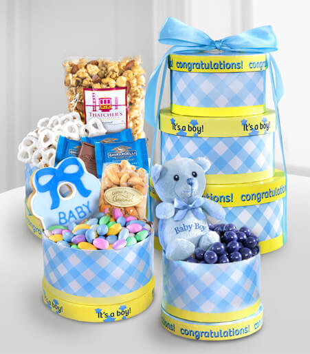 Celebrate the Baby Boy Gourmet Gift Tower