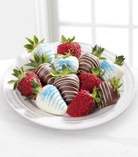 Chocolate Dip Delights™ Berry Patriotic Real Chocolate Covered Strawberries - 12-piece