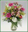 Vase arrangement of assorted flowers