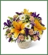 This garden basket is a display of the bright colors of nature. Arrangement includes lilies, iris, daisies and more.
