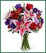 The Stunning Beauty Bouquet is an absolutely lovely way to send your love and affection across the miles. Fragrant Stargazer lilies stretch their star-like petals across a bed of rich red roses, lavender carnations, red Peruvian lilies, purple double lisianthus, purple matsumoto asters and lush greens. Presented in a classic clear glass vase, this elegant bouquet is an incredible way to convey your sweetest sentiments.