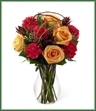 The Happiness Bouquet is blooming with vibrant color to bring smiles and delight to your special recipient! Orange roses and fuchsia carnations are brought together with a variety of lush greens and accented with curly willow branches to create a memorable bouquet of eye-catching beauty. Seated in a classic clear glass vase, this bouquet is the perfect way turn any day into a celebration.