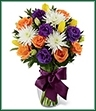 The New Dream Bouquet blooms with roses and tulips to dress up their day in color and fresh beauty. Orange roses, yellow tulips, white spider chrysanthemums, purple double lisianthus and lush myrtle are exquisitely arranged in a clear glass vase accented with a mauve satin ribbon to create the perfect way to send your congratulations and warmest wishes.