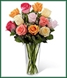 The Graceful Grandeur Rose Bouquet offers your special recipient a bright assortment of roses to bring them joy with its exquisite beauty. Cream, orange, hot pink, coral and light pink roses are accented with lush greens and gorgeously arranged within a clear glass vase to create a lovely way to send your love, say thank you or even to extend your happy birthday wishes.