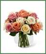 The Rose Bouquet employs a soft assortment of roses to create a sweet and stunning arrangement. Cream, white, orange and pink roses are simply brought together in a clear glass bubble bowl vase to make an exquisite flower bouquet set to warm their heart when extending your warmest wishes for their birthday or just to say thinking of you.