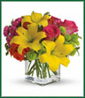 Send this summery bouquet and you'll make a splendid splash! Perfect for birthdays, thank yous, barbecues and beyond. This warm-weather charmer will be welcome everywhere! Hot pink roses, orange spray roses, yellow asiatic lilies, hot pink matsumoto asters and green button spray chrysanthemums are delivered in a cube vase. Lots of splash. Not too much cash!