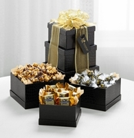 The FTD® Exclusive Ebony and Gold Tower of Goodies