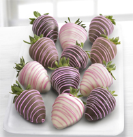 Chocolate Dip Delights™ Classic Real Chocolate Covered Strawberries & Pink Drizzle - 12-piece
