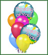 When you want your gift to make a big impression, give them this fun Balloon Bouquet. The bouquet arrives with 2 mylar balloons surrounded by 6 latex balloons and tied together with a ribbon. The thinking of you mylar balloon designs will vary.